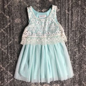 Toddler sleeveless tulle & lace dress